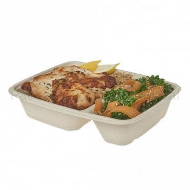 500ml/250ml Rectangular 2-Compart Bagasse Container