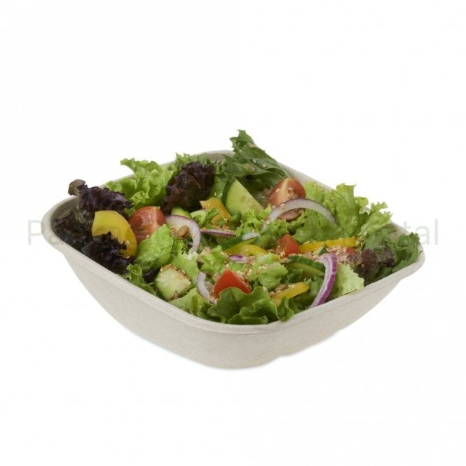 750ml Bagasse Salad Sloping Container