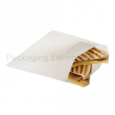 "8.5"" x 8.5"" White Greaseproof Paper Bag"