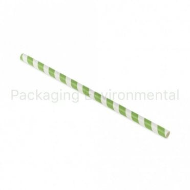 Green Stripe Paper Straw - 210mm x 8mm