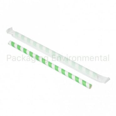 Paper Wrapped Green Stripe Paper Straw - 210mm x 10mm