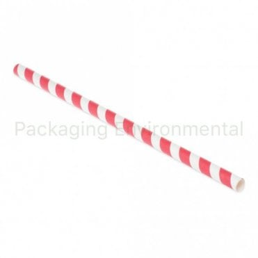 Pink Stripe Paper Straw - 210mm x 8mm