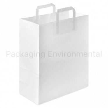 Plain White Carrier Bag - Large