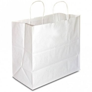 Plain White Carrier Bag - Twisted - 330x200x330