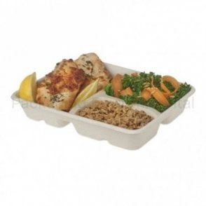 3-Compartment Bagasse Tray