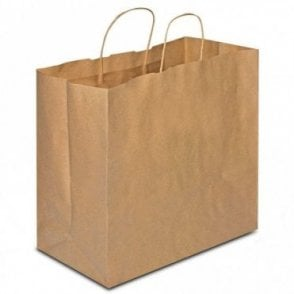 Plain Kraft Carrier Bag - Twisted - 330x200x330