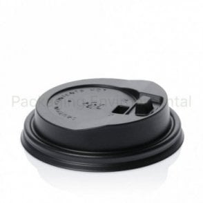 Reclosable fold over lid for 8oz cup - black