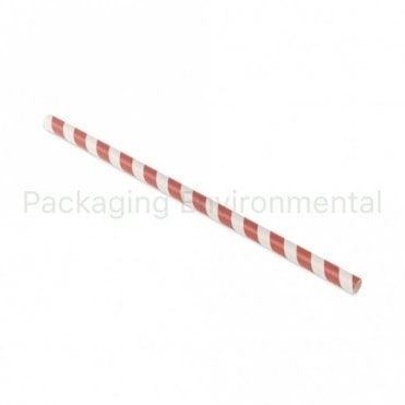Red Stripe Paper Straw - 210mm x 8mm