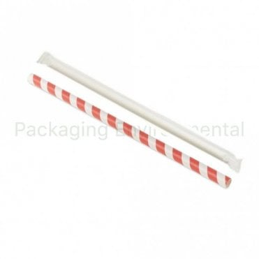 Red Stripe Paper Straw Wrapped - 210mm x 8mm