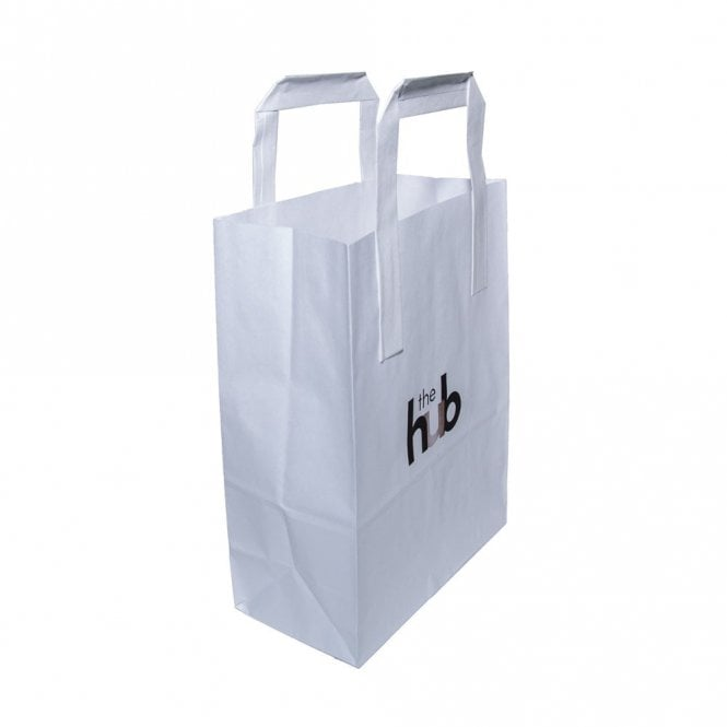 Small - White Paper Carrier Bag With Handles - HUB