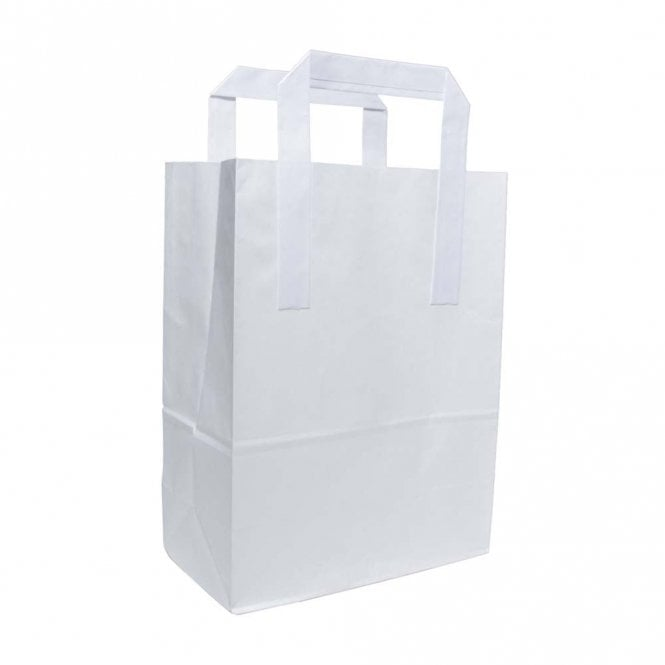 White Paper Bag With Handles - Small